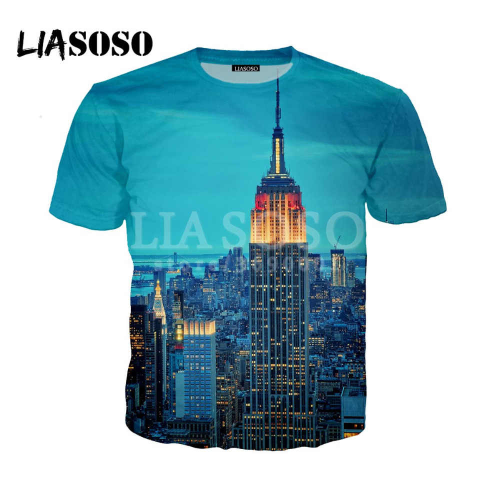 Liasoso新しい3dプリント女性男性ニューヨーク市ワンワールド貿易センターtシャツ夏のtシャツヒップホッププルオーバー半袖X0823
