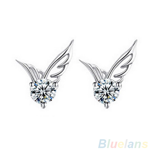 Us 0 56 Fashion Womens Silver Plated Jewelry Angel Wings Crystal Ear Stud Earrings 4q5y In From Accessories On Aliexpress