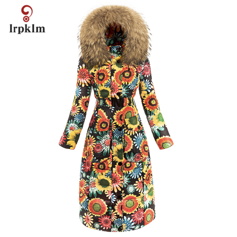 2017 New Fashion Luxury Women Winter Long   Down   Jackets With Big Fur Hooded Collar Female Warm Printing Duck   Down     Coat   Slim PQ108