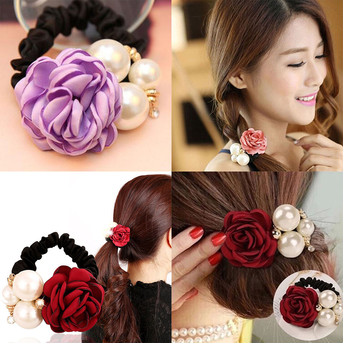 Pearls Beads Rose Flower Hair Band Rope Scrunchie Ponytail Holder Girls Headdress Hair Ropes in Women 39 s Hair Accessories from Apparel Accessories