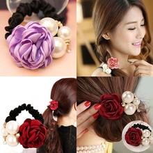 Pearls Beads Rose Flower Hair Band Rope Scrunchie Ponytail Holder Girls Headdress Ropes