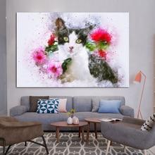 Nordic Posters En Prints Dier Kat painting Cuadros Foto Wall Art picture Canvas Schilderij Muur S Voor Woonkamer decor