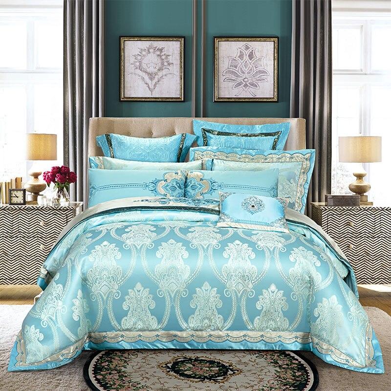 Bule Golden Jacquard Bedding set Silk Cotton Luxury Royal Bed set Duvet cover 4 6 9Pcs