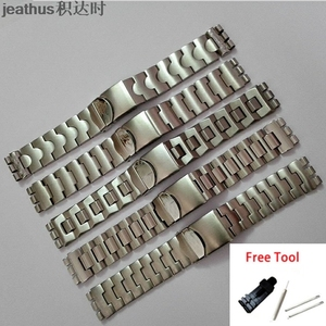 Image 1 - Jeathus watchbands replacement for swatch steel belt ycs410gx 438 511 19mm stainless steel strap irony man bracelet watch band