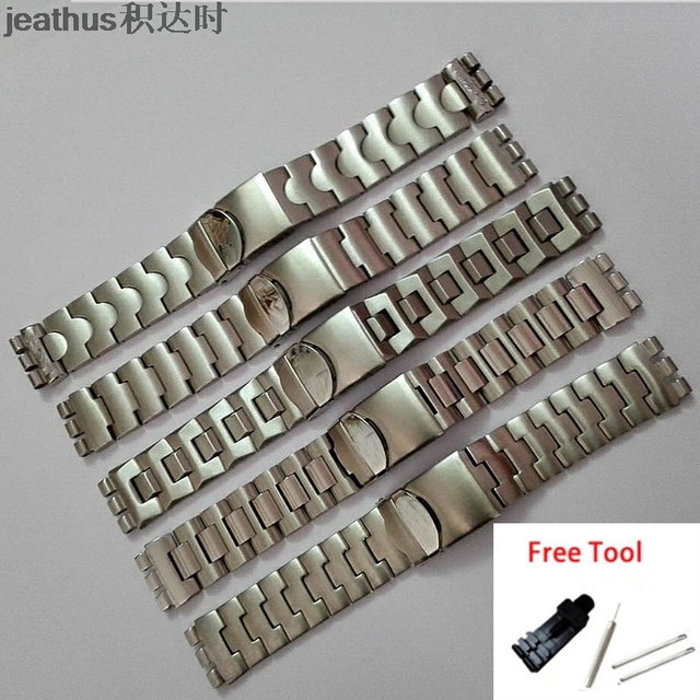 Jeathus watchbands replacement for swatch steel belt ycs410gx 438 511 19mm stainless steel strap irony man bracelet watch band