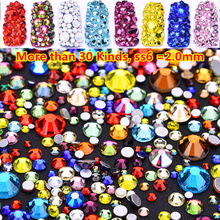 Super Shiny 1440pcs -2mm ss6 Nail Crystals Glass 30 Colors Mixed Size Gems ab Rhinestones strass nail art atacado