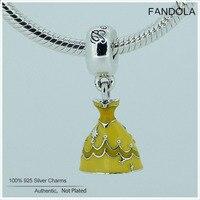 FANDOLA Belle Dress Ciondola I Fascini Misura Branelli Braccialetto 925 Sterling Silver Beads per Monili Che Fanno Berloques Dropshipping L139
