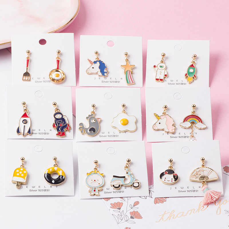 Cartoon Asymmetric Drop Earrings for Women Sweet Unicorn Rainbow Rocket Spaceman omelet Donuts Female Pendant Earrings
