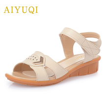 AIYUQI 2019 new summer womens genuine leather sandals middle-aged casual flat soft plus size 42#43#44# shoes women