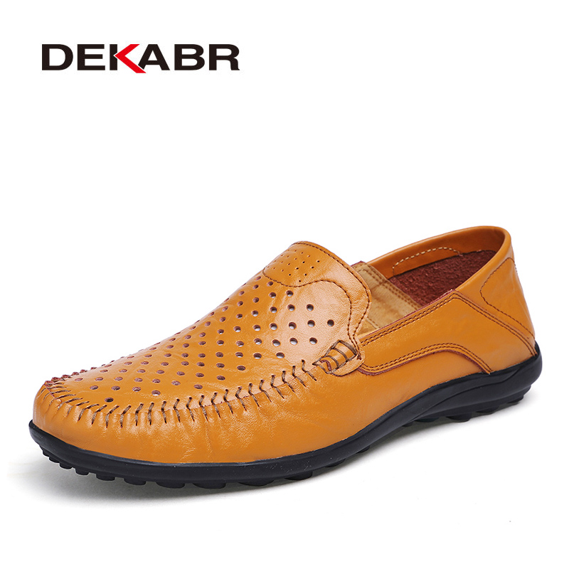 DEKABR Brand 2018 Split Leather Hollow Breathable Men Shoes, Fashion Comfortable Casual Men Shoes Driving High Quality Shoes Men