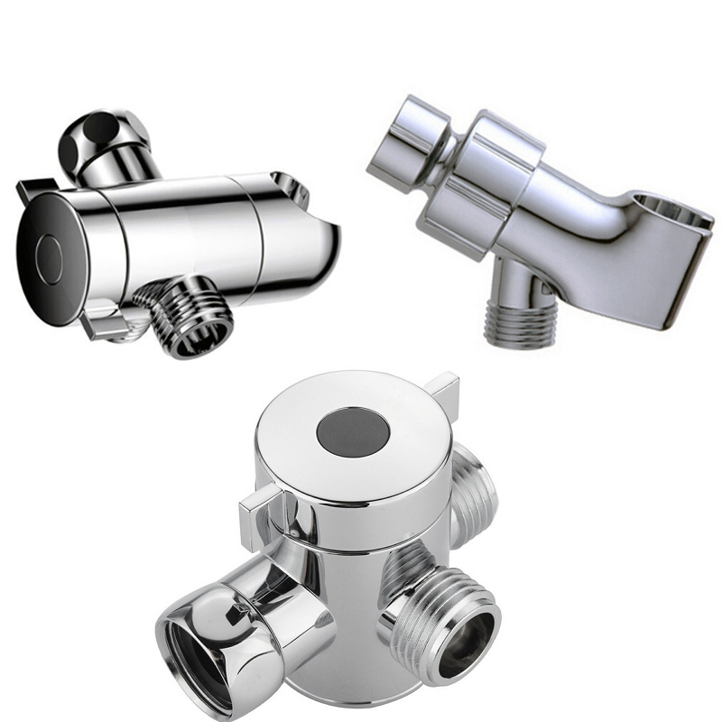 3 Way Shower Head Diverter Valve Tee Connector Shower Adapter Adjustable Shower Arm Mounted Shower Head Holder For Toilet Bidet