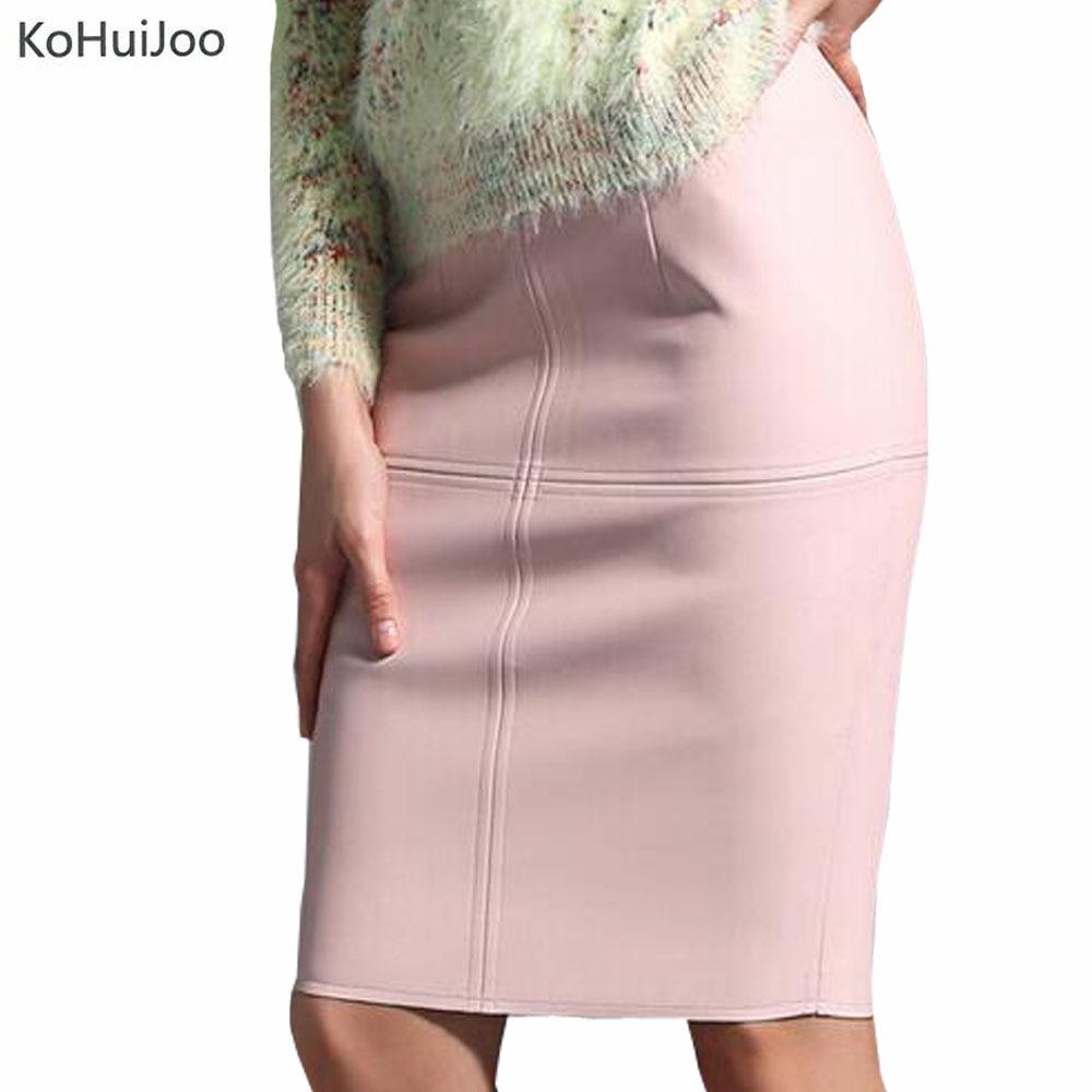 KoHuiJoo Falda de cuero sexy para mujer Falda lápiz delgado sólido Señoras Cintura alta Longitud de la rodilla Azul Rosa Falda de cuero de imitación Negro Rojo
