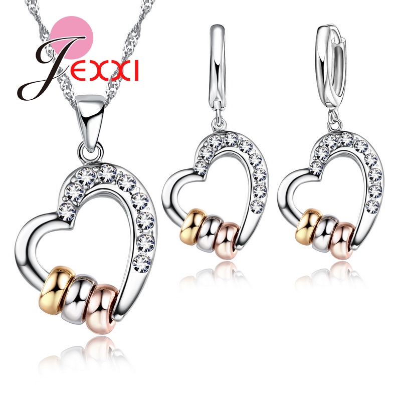 925 Sterling Silver Necklace Earrings Jewelry Sets Clear CZ Crystal Rhinestone Heart Shape Jewelry Sets