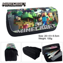 Classic Game Minecraft Pencil Case Animated Cartoon PU Fabric Double Super Big Pencil Bag School Cute Pencil Box Bts Stationery