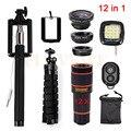 12en1 Kits de Lentes Telefoto 12x Zoom 3in1 Fisheye Lente para Teléfonos lente gran angular macro trípode titular remoto selfie llenar luz