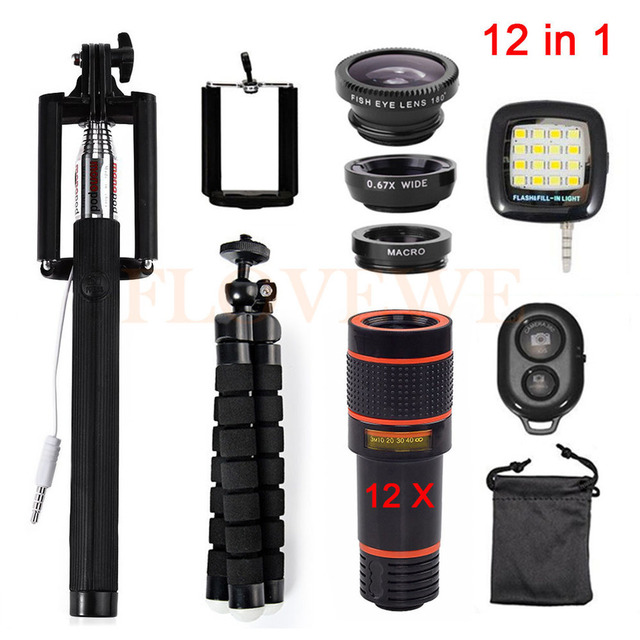 12in1 Phone Lens Kits 12x Zoom Telephoto Lentes 3in1 Fisheye Lens Wide Angle Macro Lenses Tripod Holder Remote Selfie Fill Light