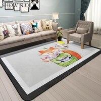 Nordic modern bedroom carpet carton fox rabbit children play crawling rug sitting room tea table sofa rectangle bed tapetes