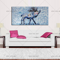 New Design Abstract Animal Goat Thick oil Oil Painting For Wall Decoration Abstract Goat Oil Painting For Friend Christmas Gift