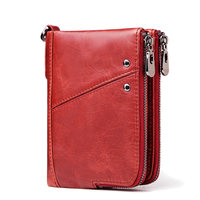 Genuine Leather Women Wallet Female Red Rfid Coin Purse Small Walet 2019 Portomonee PORTFOLIO Money Bag Lady Mini Card Holder