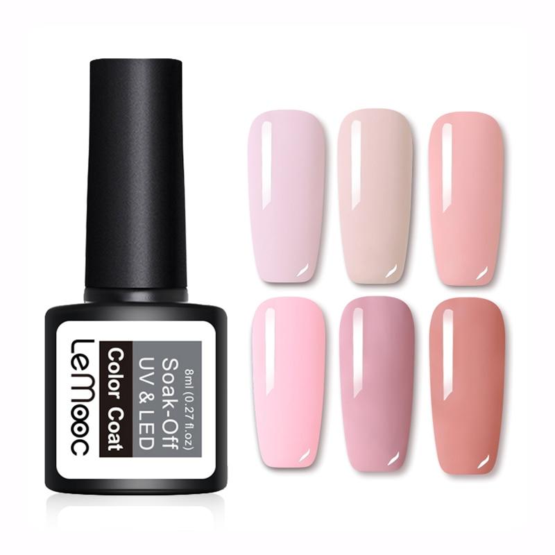 LEMOOC Gel Nail Polish 25 Pure Colors Gel Lacquer 8ml Soak Off UV Gel Manicure Super Sticky Adhesive Nail Art UV Gel Varnish
