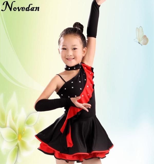 b3ae34794a4ef Para Chicas Baile Latino Swing Asimétrica Falda Rojo Plisado La Vestidos  Salsa Negro Niños zwnxqPTCRW