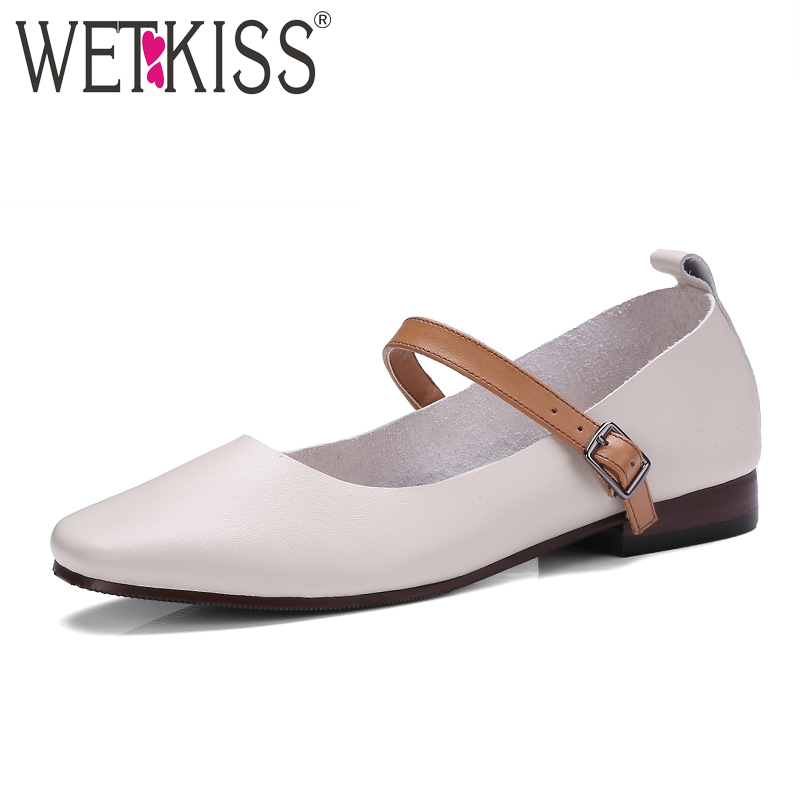 WETKISS Genuine Cow Leather Mary Janes Women Flats Buckle Strap Square toe Cozy Shoes Woman Footwear Sweet Ladies Shoes Flat qmn women crystal embellished natural suede brogue shoes women square toe platform oxfords shoes woman genuine leather flats