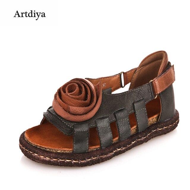 1abf0e928da9a3 Artdiya Vintage Handmade Leather Sandals National Trend Women s Shoes  Flower Shoes Soft Sole Loose Comfortable Sandals