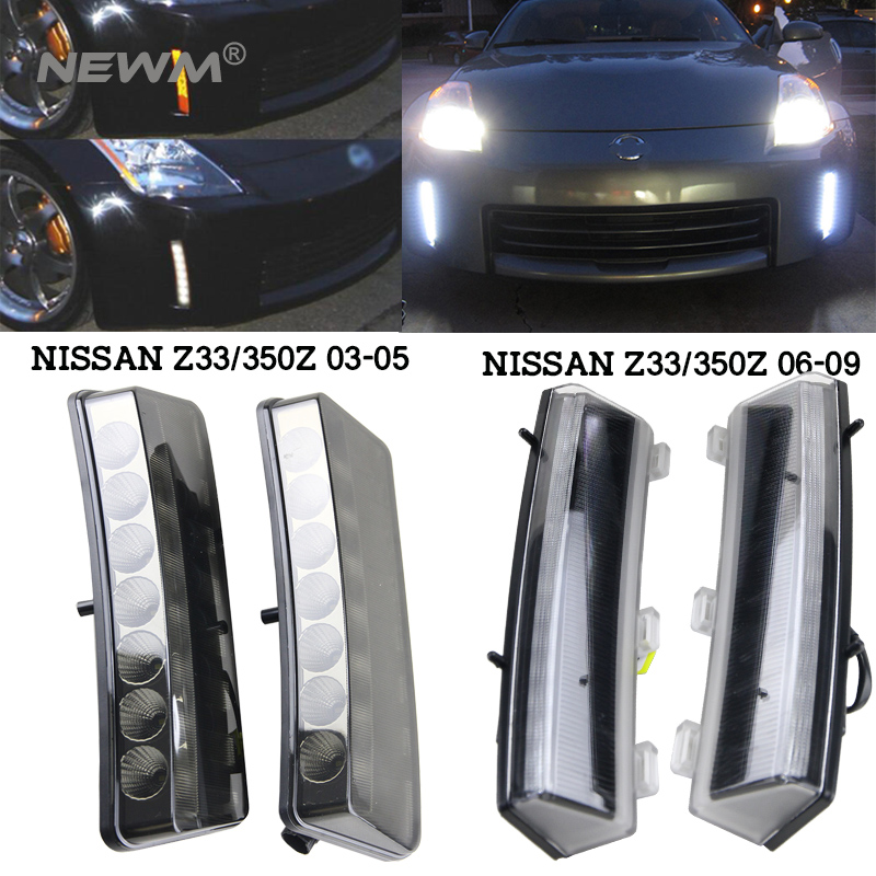 2pcs/lot LED Car Drl Light For Nissan 350Z/Z33 2003 2005 2006 2009 Car styling LED Daytime Running Light Whte/Amber Switch
