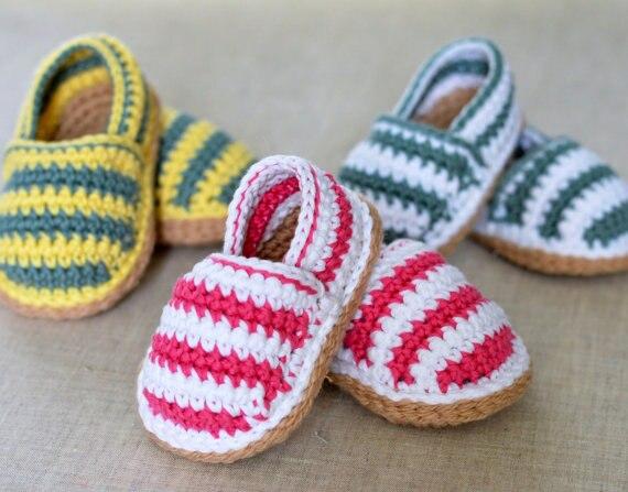 Zapatos Del ganchillo Del Bebé Rayas Alpargatas zapatos de bebé del Ganchillo, bebé alpargatas,