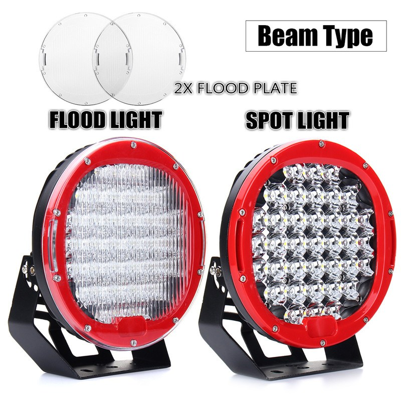 2pcs 9inch 10-30V LED Round Work Light 370W Spot Flood Driving Headlight Head Lamp 6000K For Jeep Offroad With Wiring Harness