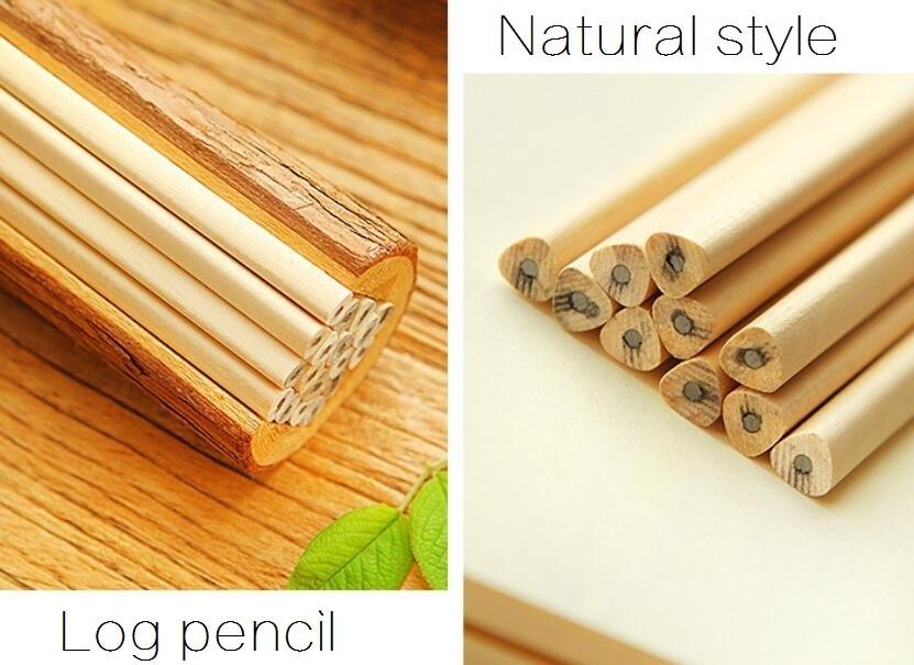4pcs/lot NEW Students Simple Green Log Pencil Environmental Wooden Pencils Kawaii Painting