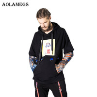 Aolamegs Hoodies Men Fake Two Pieces Ribbon Hoody Couple Pullover High Street Fashion Hip Hop Streetwear