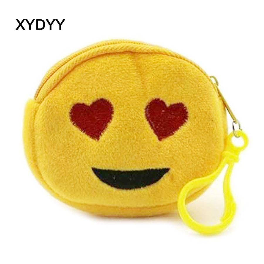 XYDYY Kawaii Cute Emoji Women Children Plush Coin Purse Zipper Change Purse Wallet Kids Girl Women Mini Small Pouch For Gift