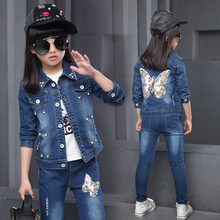 2019 Autumn Newest Girls Clothes denim Jacket+ Jeans pants 2 Pcs Set Fashion back embroider butterfly Coat for 4 5 6 8 10 15Year