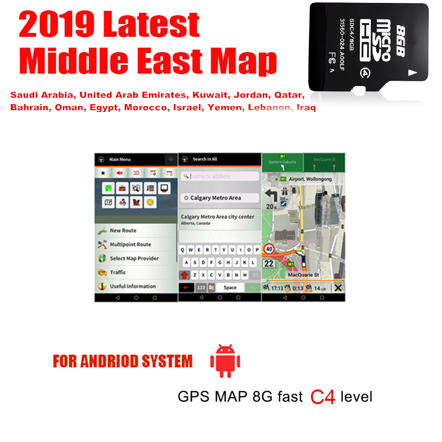 Fit For Android System Car Auto GPS Navigation 8GB Micro SD Card Map Of Middle East For BH,EG,IQ,IL,JO,KW,LB,MA,OM,QA,SA,AE,YE