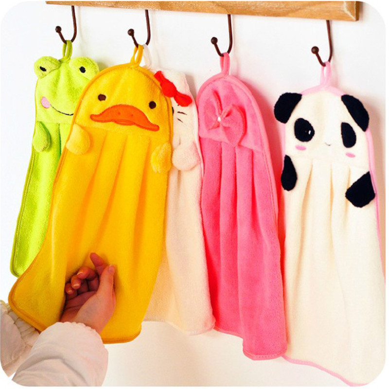 1pc Lovely Hand Towel Cartoon Soft Kitchen Cloth Dishes Pot Cleaning Cloth Bathroom Kitchen Towels 5Color Select New