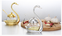 Creative spice jar glass condiment bottle lovely swan coffee sugar salt shaker wedding home sauce bottle Upscale hotel supply