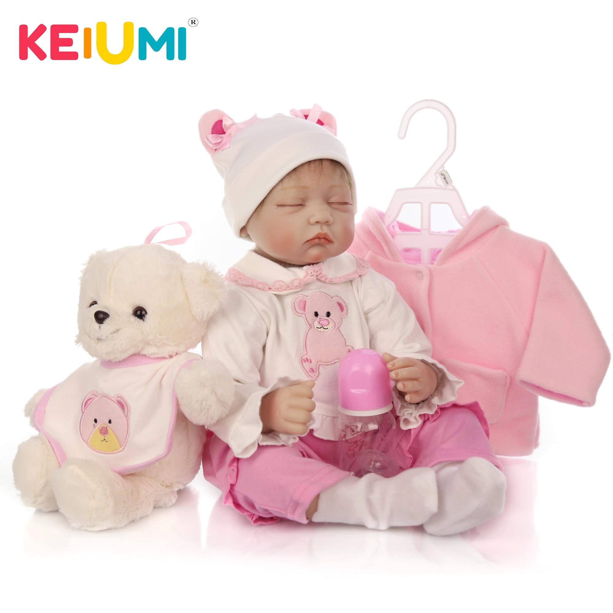 KEIUMI Lifelike 23 Reborn Baby Doll Boy Full Body Silicone Vinyl Asleep In Basket 57 cm