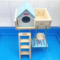 Four PCS Hamster Chinchilla house Bed cage Small Animal wood hamster ladder swing chew toy set Hamster Pedal board accessories