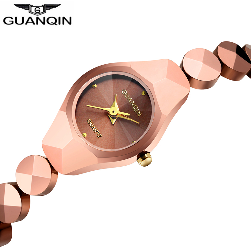 Original Guanqin 2018 Tungsten Steel women Watches top brand gold quartz watch women fashion Chain Style Design relogio feminino guanqin fashion women watch gold silver quartz watches waterproof tungsten steel watch women business bracelet gq30018 b