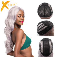 Body Wave Lace Front Synthetic Hair Wigs With Baby Hair X TRESS Silver Grey Platinum Color Free Part Hair Wig For Black Women