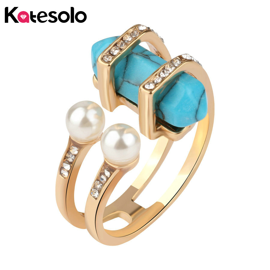 Antique Jewelry Female Double Simulated Pearl Blue Stone Finger Ring Gold Color Open Rings Wholesale For Women