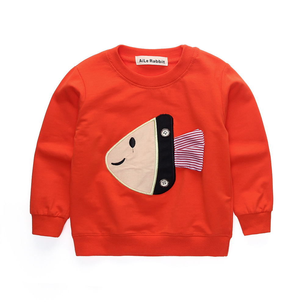 T-Shirts Autumn Children's Long-Sleeved Fashion Fund Han-Edition Fish-A-Generation-Of
