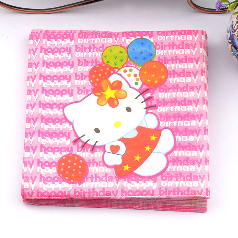 New 20pcs/lot Kids party Pink KT paper Napkin napkin table dinner paper Tissues wedding party supplies