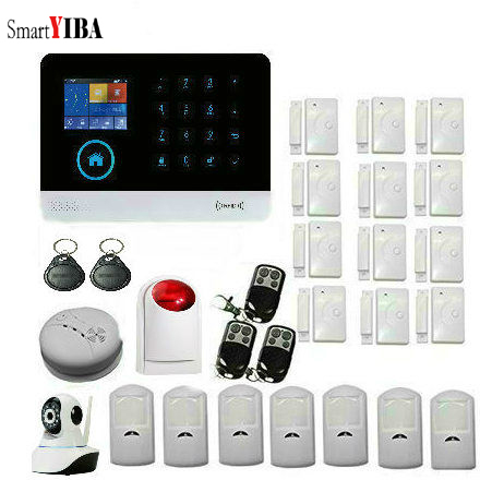 SmartYIBA WIFI Wireless Home Security GSM Alarm System with IOS Android Smoke Alarm Wireless PIR Sensor Motion Detector Alarm pir motion sensor alarm security detector wireless ceiling can work with gsm home alarm system 6pcs cpir 100b