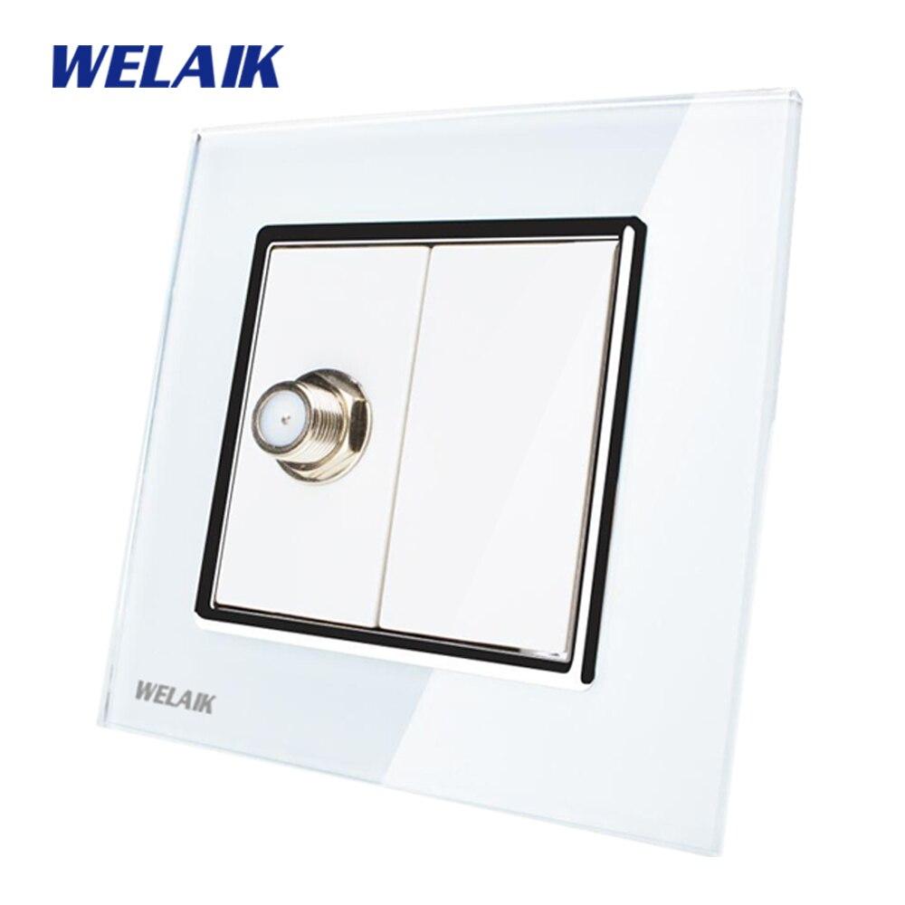 WELAIK  Free shiping Crystal Glass Panel 1Frame EU White Wall Socket Satellite sockets  socket A18SAW free shiping crystal