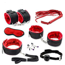 Nylon Tying Erotic Toys For Adults Sex Handcuffs + Nipple Clamps + Whip + Mouth gag+ Sex mask + Bdsm Bondage set intimate goods