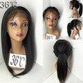 Reta perucas de cabelo humano reto de seda brasileiro Full Lace Wigs Remy do laço do cabelo humano frente peruca sem cola peruca com cabelo do bebê