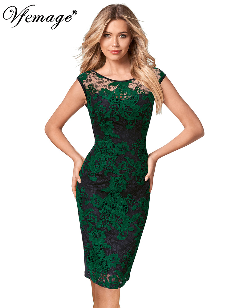 Vfemage Womens Illusion Crochet Lace Embroidery Slim Cocktail Party Mother of Bride Special Occasion Bodycon Pencil Dress 2155