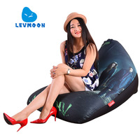 LEVMOON Beanbag Sofa Chair Green Arrow Seat Zac Comfort Bean Bag Bed Cover Without Filler Cotton